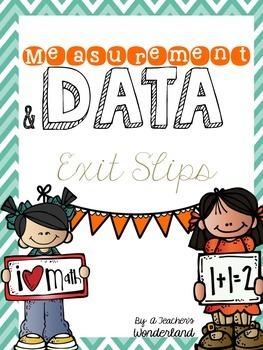 Measurement & Data Exit Slips First Grade Common Core Aligned