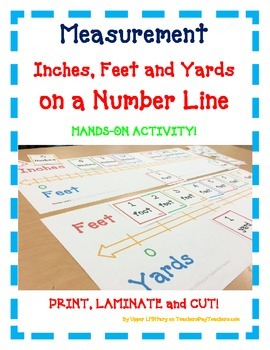 Measurement Number Line: Inches Feet Yards - A FUN Hands-O