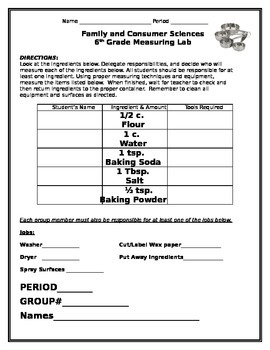 Measurement Lab Planning Sheet (For Use in Class with Flip