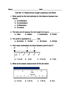 Math VA SOL 4th Measurement Length (Customary)