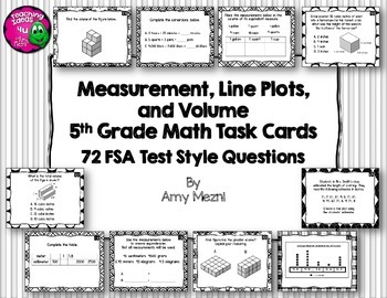 Measurement, Line Plots, & Volume 72 Task Cards 5th Grade