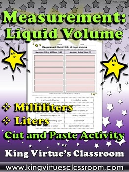 Measurement: Liquid Volume Cut and Paste Activity - Millil