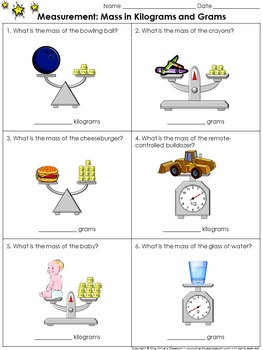 Measurement: Mass in Kilograms and Grams Practice Sheets -
