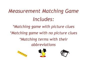Measurement Matching and Unit Conversions Game (Length, We