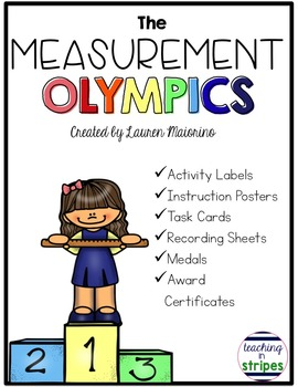 Measurement Olympics- Task Cards, Graphing, and Awards!