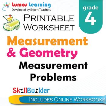 Measurement Problems Printable Worksheet, Grade 4