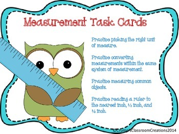Measurement Task Cards - Common Core Standards
