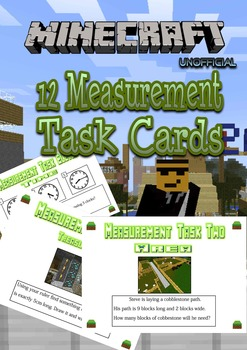 Measurement Task Cards - Minecraft Themed - NZ  level 2 AG