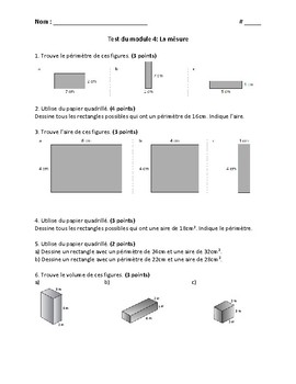 Measurement Test and Review - French