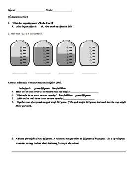 Measurement Test or Worksheet