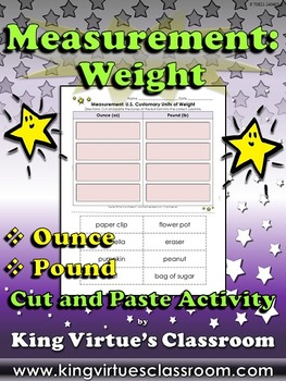 Measurement: U.S. Customary Units of Weight Cut and Paste