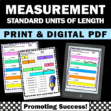 Measurement Worksheets Standard Units of Length 2nd 3rd Gr