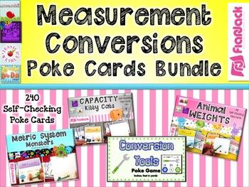 Measurement Units and Conversions Poke Cards Bundle (4.MD.