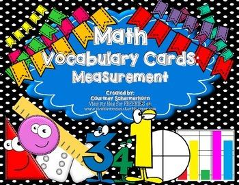 Vocabulary Cards-Measurement (inc. Customary, Metric, Area