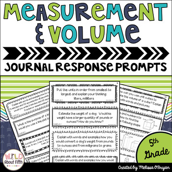 Measurement & Volume Math Journal Response Prompts - Commo