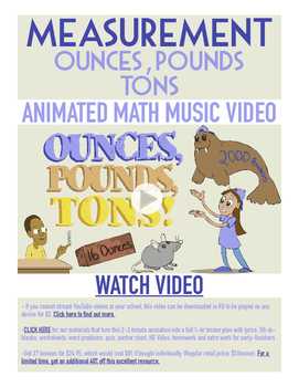 Ounces, Pounds, & Tons   FREE Poster, Worksheet, & Fun Vid