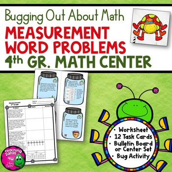 Measurement Word Problems Task Card Math Center & Bug Acti