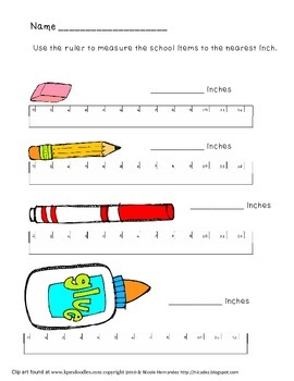 Measurement Worksheet School Tools