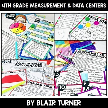 Measurement and Data Centers Bundle: 4th Grade Math Test Prep