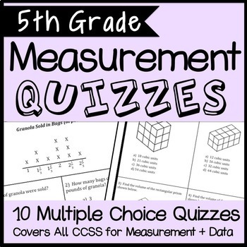 Measurement and Data Quiz Bundle, 5th Grade Math CCSS Alig
