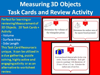 Measurement of 3D Objects - Task Cards and UNIQUE Activity