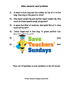 Measurement word problems (metric) worksheets (3 levels of