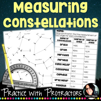 Measuring Angles Using a Protractor Constellation Activity