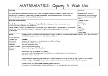 Measuring Capacity 4 week unit plan