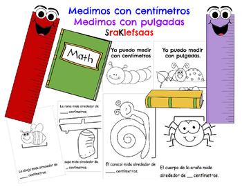 Measuring Centimeters and Inches Book Libro de medir con c