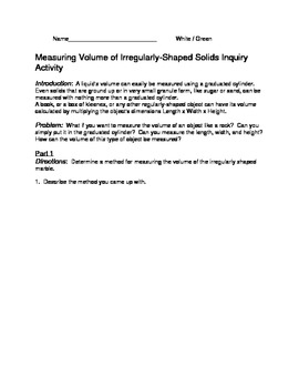 Measuring Volume of Irregularly-Shaped Solids Inquiry Activity