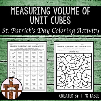 Measuring Volume of Unit Cubes St. Patrick's Day Coloring