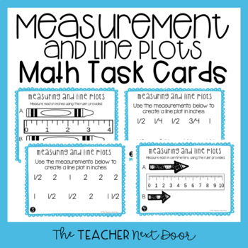 Measuring and Line Plots Task Cards for 3rd Grade
