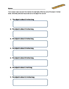 Measuring inches worksheet