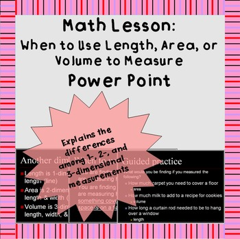 Measuring length, area, and volume: A short Power Point Pr