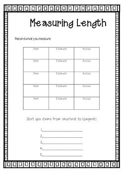 Measuring length recording sheet