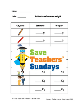 Measuring metric weight (g and kg) lesson plans, worksheet