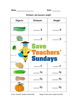 Measuring weight (metric) of vegetables worksheets (2 leve
