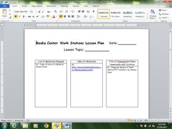 Media Center Common Core Lesson Plan Template Featuring Wo