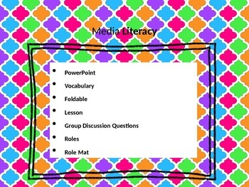 Media Literacy: PowerPoint, Vocabulary, Foldable and Group