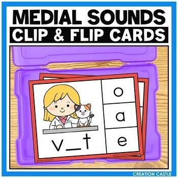 Medial CVC Sounds Clip Cards Center