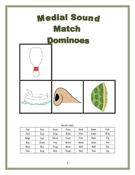 Medial Sound Match Dominoes