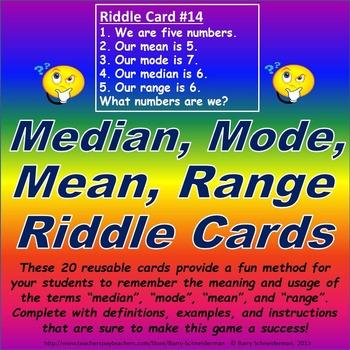 Median, Mode, Mean, Range Riddle Card Challenge