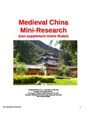 Medieval China Mini-Research (can supplement the movie Mulan)
