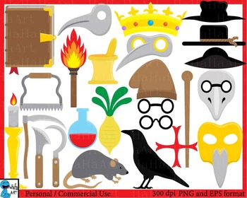 Medieval Doctor Props- Digital ClipArt Personal, Commercia