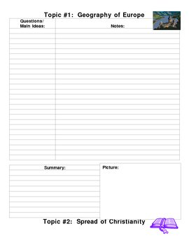 Medieval Europe Standards Cornell Note Sheets