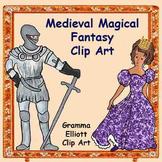 Clip Art - castle - harp - knight - princess - swan - unic