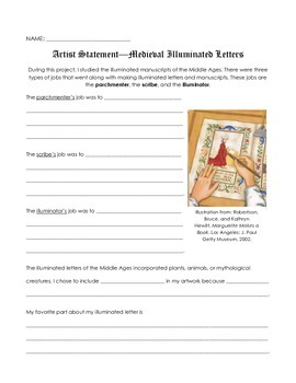 Medieval Times/Middle Ages Illuminated Letters Artist Stat