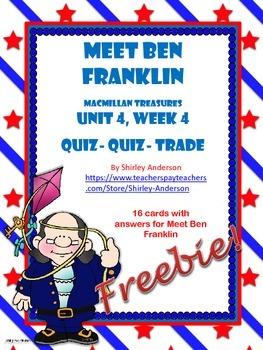 Meet Ben Franklin QQT Cards (Treasures U4-W4) Freebie
