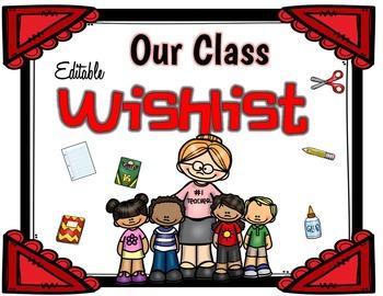 Meet The Teacher - EDITABLE Wish List for Parents
