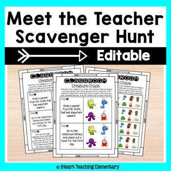 Meet The Teacher Scavenger Hunt- Classroom Creature Chase